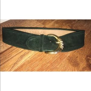 Vintage Donna Karan New York wide belt gold green
